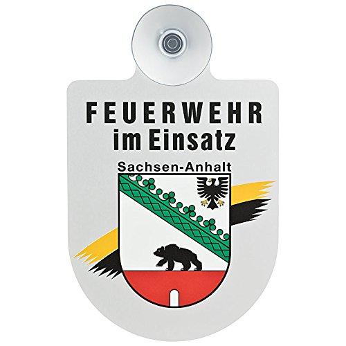 Feuerwehr im Einsatz KFZ Aluschild mit Saugnapf und Bundesland Wappen (Sachsen-Anhalt)