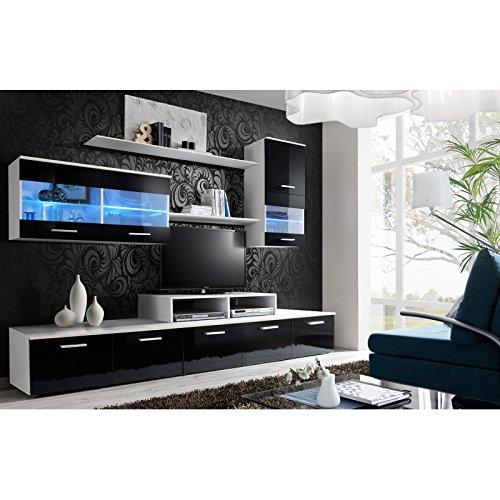 AC-Déco Ensemble Mural - Logo II - 1 Banc TV - 2 étagères - 2 Vitrines Murales - Blanc Et Façades Noir - LED