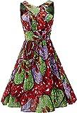 Shenbolen Women African Print Dress Ankara Fashion Dresses (X-Large, D)