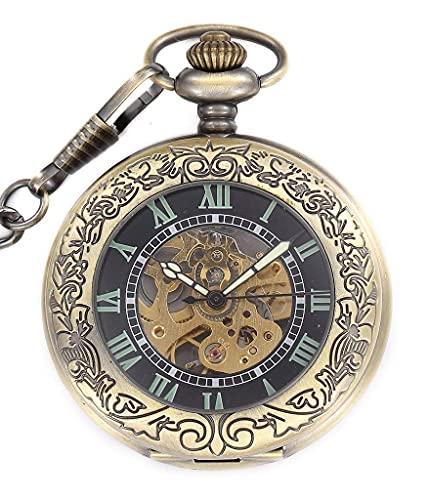 ZHAOJ Reloj de Bolsillo mecánico Luminoso Auto-Viento automático Estilo Steampunk Esqueleto Hueco Colgante de Acero Collar Dorado