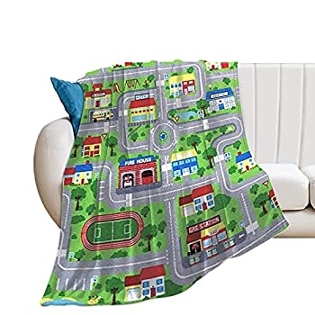 Kenaat Cartoon City Street Map Throw Blanket Flannel Fleece Blanket for Couch Bed Sofa Soft Warm Blanket for Adults Kids