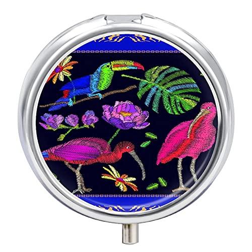 Pastillero redondo,estuche organizador de soporte para tableta de medicina,Patrón de bufanda de pájaros brasileños Ibises Tucán y,Vitamina decorativa de tres compartimentos