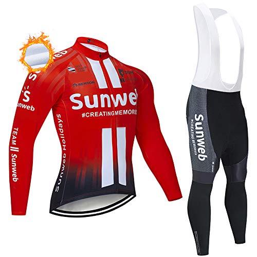 Abito da Ciclismo Invernale in Pile Termico da Uomo, Abbigliamento da Ciclismo a Maniche Lunghe con Cerniera Intera a 3 Tasche