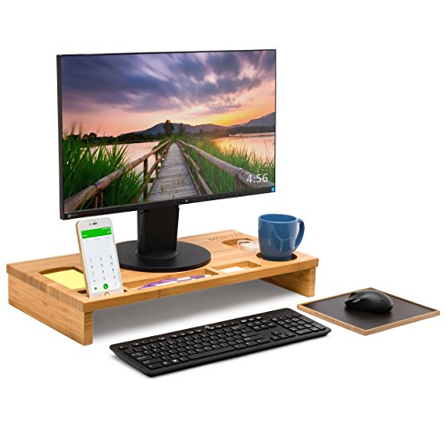 Bamboo Computer Monitor Desk Riser Stand by Morvat with Mouse Pad and Storage Organizer | Perfect for Laptops and Computers | Wooden Desktop Home and Office Organizer