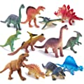 "Peruser Dinosaurs Toys 12-Pack 5"" to 7"" Realistic Dinosaur Figures with Dinosaur Book, Kids and Toddlers - Great Gift Set, Birthday Present, or Party Favor!"