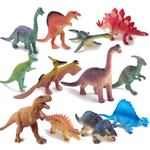 Peruser Dinosaurs Toys 12-Pack 5' to 7' Realistic Dinosaur Figures with Dinosaur Book, Kids and Toddlers - Great Gift Set, Birthday Present, or Party Favor!