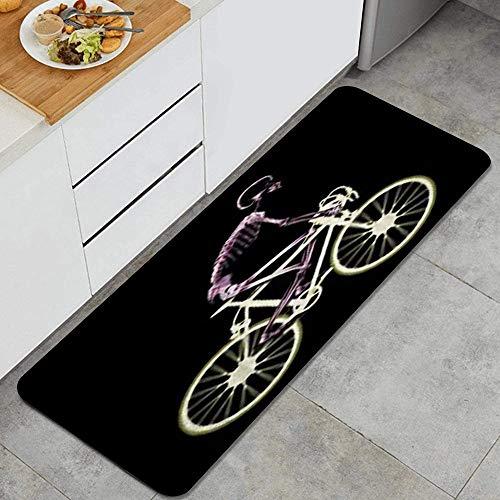 ZORMIEY Alfombras Cocina Lavable Antideslizante Alfombrilla de Goma Alfombra de Baño Alfombrillas Cocina 45x120cm,Hombre Esqueleto Bicicleta Tiempo Libre Paseo Ciclismo Deporte