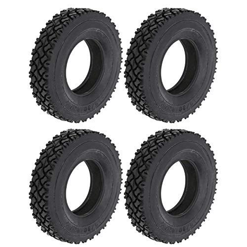 JYLSYMJa Neumático de Goma RC, 4 Piezas, 20 mm de Ancho, patrón de Suela de Zapato, neumático, Esponja incorporada para camión Tractor Tamiya 1/14, Coche RC, Negro