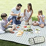 ZAZE Extra Large Picnic Outdoor Blanket, 80''x80'' Waterproof Foldable Blankets Gingham Picnic Mat for Beach, Camping on Grass (Green and White)