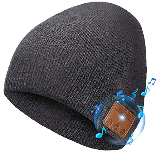 ULTRICS Gorro Bluetooth, Unisex Recargable V5.0 Inalámbricos Auriculares Sombrero Beanie, Punto Invierno Hat con Altavoz Estéreo, Micrófono para Llamadas Manos Libres Deportes Regalo Hombres Mujeres