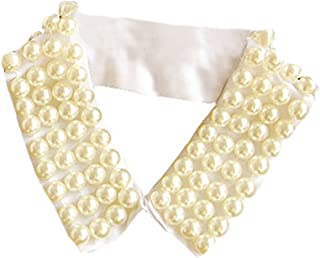 LANGUGU Vintage Faux Pearls Layers Bib Stand Collar Detachable Blouse Fake Collar Necklace Choker Cloth Accessory