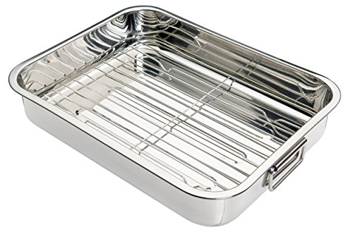 Kitchen Craft - Fuente de horno rectangular con rejilla (acero inoxidable), color plateado, 37 x 28 x 6,5 cm