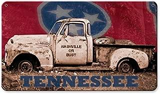 ArtFuzz 14 X 8 Satin Metal Sign - Nashville Or Bust Truck with Flag