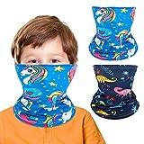 Rhino Valley Bandana Multifunzione per Bambini e Bambine [2 Pezzi], Maschera a Stampato Simpatico per Viso Sciarpa Estivo Traspirante ed Elastico Passamontagna Fazzoletti da collo - Azzurro & Blu