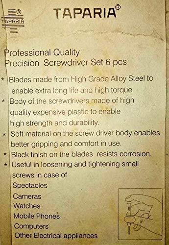 Precision Screwdriver Set of 6 Pieces TAPARIA Best Professional Quality