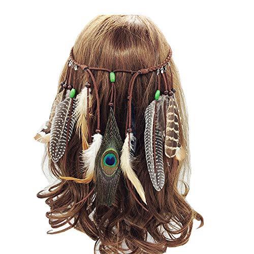 Jurxy Böhmische Pfau Feder Kopfschmuck Stirnband Damen Hippie Boho Indianer Stirnbänder Zigeuner Headwear Weben Frau Mädchen Lieblings Haarschmuck – Braun- Stil 3