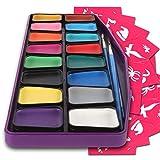 Kinderschminke hypoallergen - Gesichtsmalfarbe Set mit 16 Farben - 3 Pinsel, 30 Schablonen - besonders langlebig und leicht abwaschbar - Fasching Schmink Set - ungiftige Gesichtsfarbe für Kinder