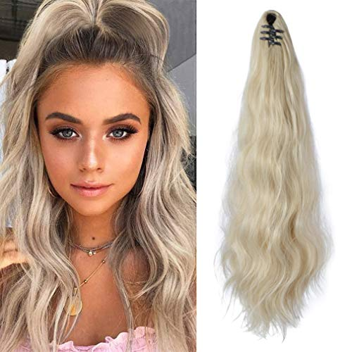SEIKEA Ponytail Extension Claw Clip 16' 24' Long Wavy Curly Hair Extension Jaw Clip Ponytail Hairpiece Synthetic Pony Tail (20 inch, Ash Blonde)