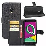 Guran Funda de Cuero PU Para Alcatel U5 3G Smartphone Función de Soporte con Ranura para Tarjetas Flip Case Cover Caso-negro