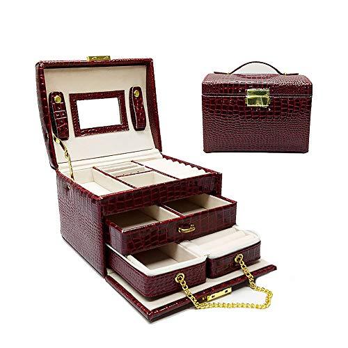 XM&LZ 3 Schichten Schmuckkoffer,tragbar Große Kapazität Schmuck Veranstalter,pu Leder Schmuck-Box Mit Spiegel,eingebaute Mini Travel Schmuckbox Rotwein 17x14x13cm(7x6x5inch)