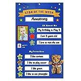 Cuadro de recompensas para estudiantes estrella de la clase, póster de la estrella de la semana para inspirar el buen comportamiento, cuadro de recompensas con muñeca de oso, tela Oxford, 56 x 90 cm /