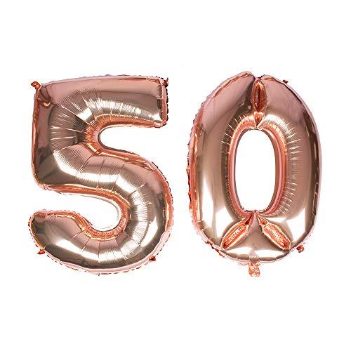 Gustawarm Ballon à hélium en Feuille de Mylar avec Chiffres en Aluminium doré Rose 101,6 cm Number 50