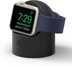 elago W2 Stand (Black) for Apple Watch Series 5, Series 4, Series 3, Series 2, Series 1, 44mm, 42mm, 40mm, 38mm - Supports Nightstand Mode, Cable Management, Scratch-Free Silicone