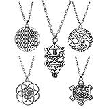 Henan - Collar con colgante de árbol de flores y 7 chakras (5 unidades)