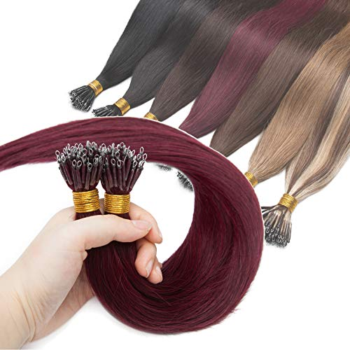 Nano Ring Human Hair Extensions Pre Bonded Keratin Fusion Stick Tip Iron Loop Link 50 strands 50g Straight Micro Bead Remy Hairpiece for Women Highlighted 16inch Wine Red #99J