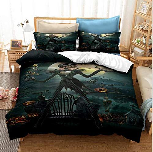 Vankie Nightmare Before Christmas Bedding Set 3D Skull Duvet Cover Set Jack Skellington, Soft 100% Microfiber Bed Set 3PCS, 1 Duvet Cover, 2 Pillowcase, No Comforter (King Size)
