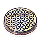 Orgonite Crystal Water Charging Plate with Black Tourmaline Healing Crystals and Flower of Life –Orgone Charging Coaster for Spiritual Cleansing and E-Energy Protection (90mm)
