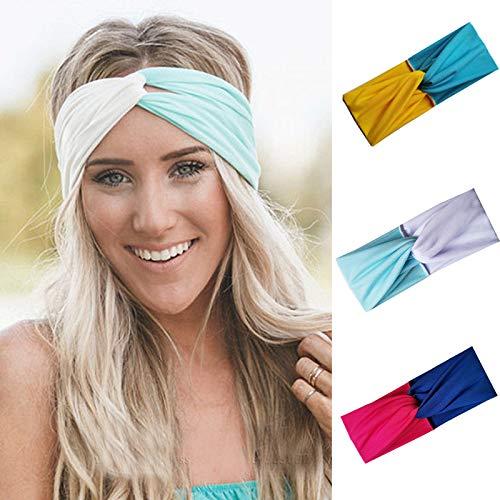 IYOU Fashion Hoofdbanden Cross Elastische Yoga Sweatband Wit Sport Brede Haarbanden Stijlvolle Stretchy Hoofd Wraps voor Vrouwen en Meisjes (pak van 3)