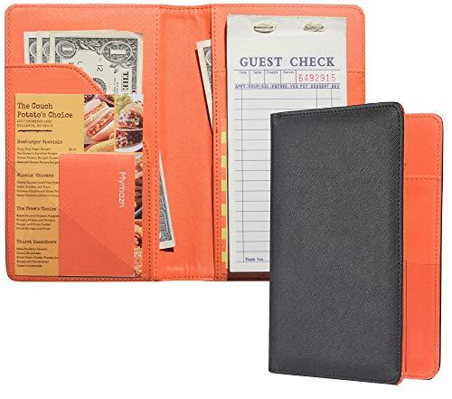 Mymazn Server Book for Waitress Book Server Checkbook Wallet for Waiter Book Serving Book Guest Check Holder Restaurant Waitstaff Organizer for Apron (Outside Black/Inside Orange)