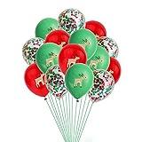Yzymyd Globos de Fiesta 15pcs / Set de 12 Pulgadas de Navidad Látex Globos árbol Ciervos Santa Claus Imprimir Globo de Oro Rojos Verdes del Confeti de los impulsos (Color : ZY450 B02)