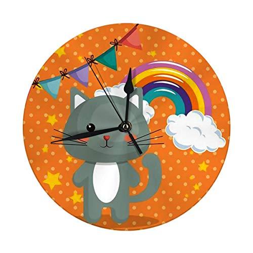 NOBRAND Reloj de pared redondo silencioso con diseño de tarjeta de cumpleaños arco iris, reloj de pared decorativo grande de 9.8 pulgadas de la familia divertido decorativo digital redondo