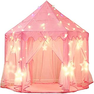 Amaae® Princess Castle Play Tent Kids Play House with Star Lights Girls Pink Play Tent