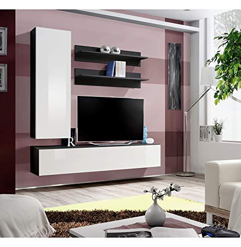 Banc TV- 4 éléments - Blanc et noir