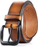 Lebrutt Genuine Men's Leather Belt, Italian Full Grain Leather, Casual Jeans Leather Belts for Men, Hand Made in Canada