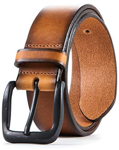 Lebrutt Genuine Men's Leather Belt, Italian Full Grain Leather, Casual Jeans Leather Belts for Men, Hand Made in Canada (40, Tan)