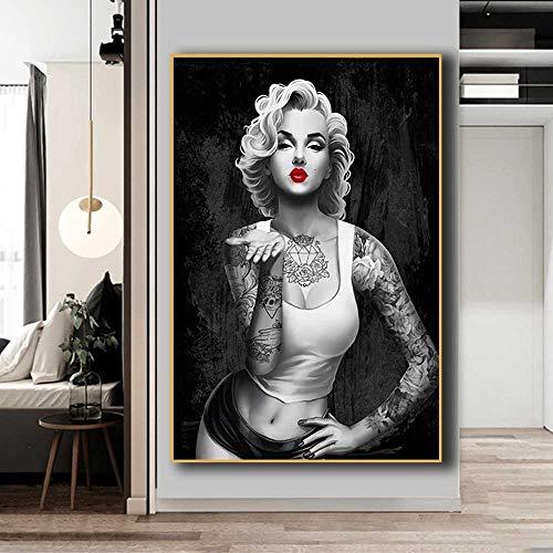 Tela De Lienzo Cuadro En Lienzo Artístico De Marilyn Monroe En Blanco Y Negro, Póster De Retrato E Impresiones, Tatuajes De Hip Hop, Cuadro De Pared Para Chica, Decoración Del Hogar Para Habitación