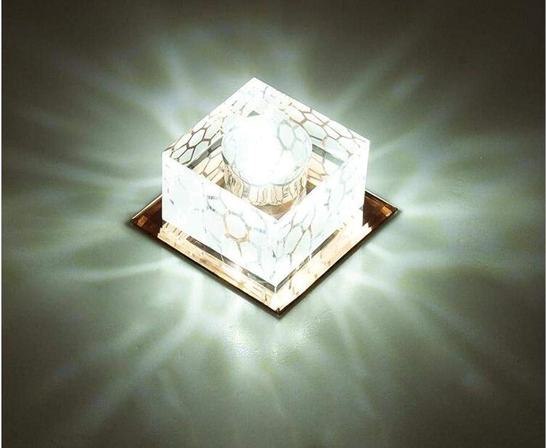 Mini eckig LED Kristall Deckenleuchte Flur Korridor Licht Deckenleuchte Halle leuchtet 3W Beleuchtung, weies Licht