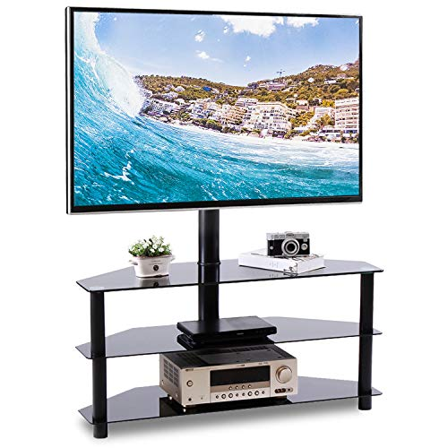 "Rfiver Corner Floor TV Stand with Swivel Mount for Most 32""-65"" LED, LCD, OLED and Plasma Flat or Curved Screen TVs, Height Adjustable 3-in-1 Entertainment Stand in Black"