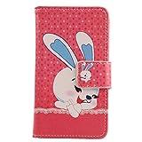 Lankashi PU Flip Leder Tasche Hülle Case Cover Schutz Handy Etui Skin Für Timmy M9 Core Dual 5' Happy Rabbit Design
