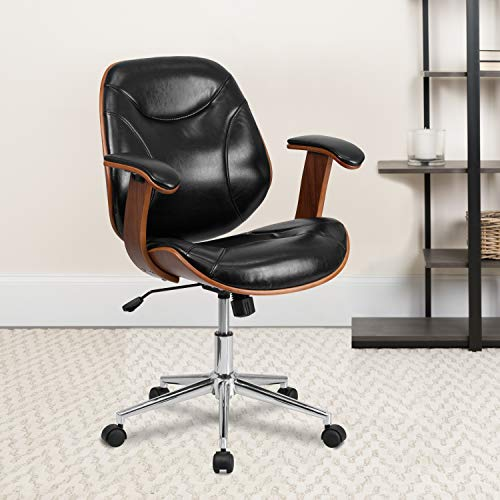 Flash Furniture Mid-Back Black LeatherSoft Executive Ergonomic Wood Swivel Office Chair with Arms