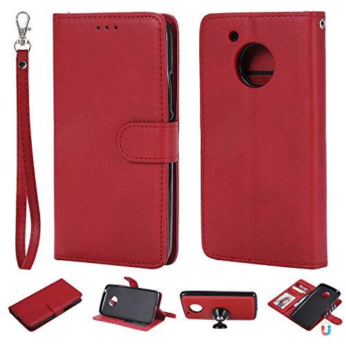ZCXG Kompatibel mit Moto G5 Hülle Leder Rot Zwei in Eins Dünn Tasche mit Kartenfach Klappbar Stand Flip Cover Brieftasche Mädchen Handyhülle Moto G5 Hülle Silikon Schwarz