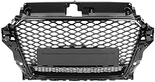 Zaaqio Honeycomb Hood Grille, For RS3 Style Front Sport Hex Mesh Bumper Grille Gloss Black For A3 / S3 8V 2013 2014 2015 2016