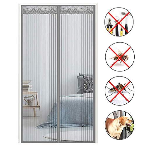 MXA Puerta de balcón con imán de mosquitera Cortina magnética de Puerta de mosquitera Fácil de Instalar, con Malla de Alta Resistencia y Cierre de Velcro para Regalos, Puerta de balcón, Gris