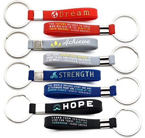 (12-pack) Inspirational Quote Keychains - Dream, Achieve, Strength, Hope - Wholesale Bulk Pack of 1 Dozen Silicone Rubber Key Rings with Motivational Quotes - Party Favors Gifts for Adults Men Women