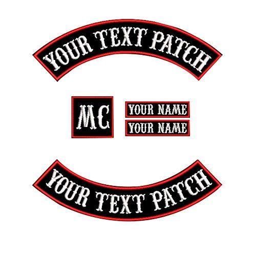 Aufnäher für Weste, Motorradfahrer, Rocker, Namensaufnäher für Jacken,personalisierbar Rot auf schwarzem Untergrund