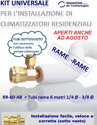 KIT FAI DA TE PER INSTALLAZIONE CLIMATIZZATORI/CONDIZIONATORI -Tubi rame 6 metri 1/4 Ø - 3/8 Ø